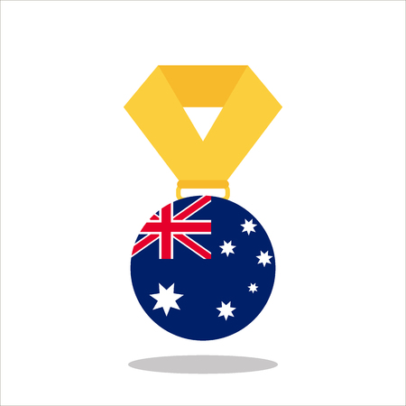 Medal with the Australia flag isolated on white background - vector illustration Illustration
