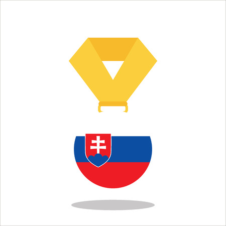 Medal with the Slovakia flag isolated on white background - vector illustration