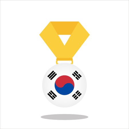 Medal with the Korea flag isolated on white background - vector illustration