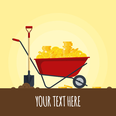 Red wheelbarrow full of golden coins isolated on white background - vector illustration. Pushcart with treasure and shovel.