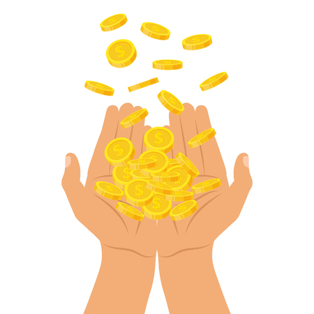 Hands holding a pile of coins falling from above illustration