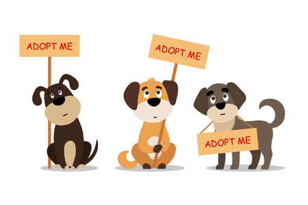 Set of cute dogs with Adopt me sign.