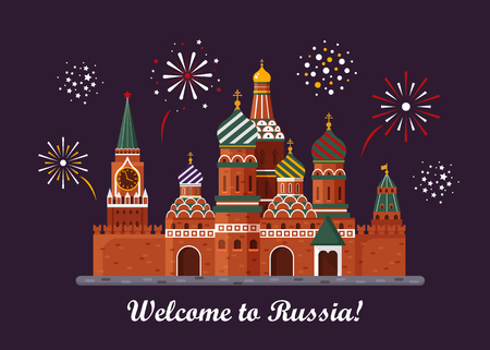 Welcome to Russia on  St. Basil s Cathedral on Red square. Kremlin palace isolated on white background and night with fireworks  vector stock flat illustration. Landscape design Vettoriali