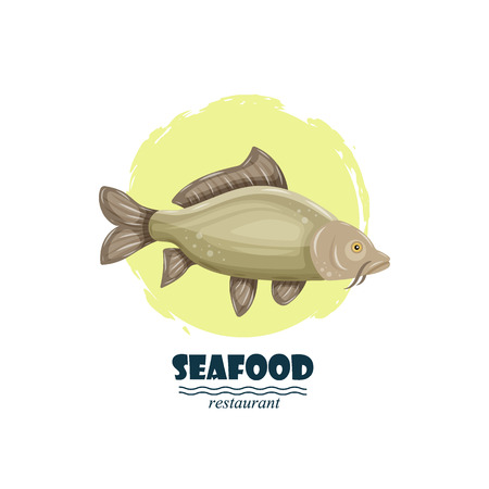 Common carp seafood restaurant label with splash and text isolated on white background. Vectores