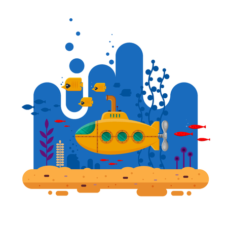 Yellow submarine with periscope underwater concept vector illustration