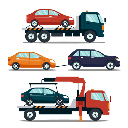 Set of cars evacuating broken or damaged auto isolated on white background. Evacuator carrying car to the parking lot. Repair service vector illustration Vettoriali