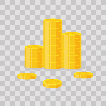 Coins stack vector illustration, icon flat finance heap, dollar coin pile. Golden money standing on stacked, gold piece on transparent background - flat style. Vettoriali