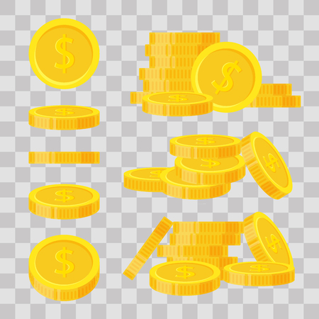 Set coins stack vector illustration, icon flat finance heap, dollar coin pile. Golden money standing on stacked, gold piece on transparent background - flat style. Illustration