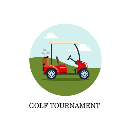 Vector electric golf car with golf club bag on a field with green grass. Transport, vehile flat style illustration. 矢量图像