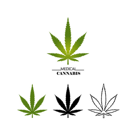 Set different logo marijuana leaves isolated on white background. Medical cannabis green, black and thin line leaf - vector flat illustration Çizim