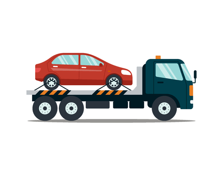 Voiture évacuant une voiture cassée ou endommagée isolée sur fond blanc. Évacuateur transportant la voiture vers le parking. Illustration vectorielle de service de réparation.