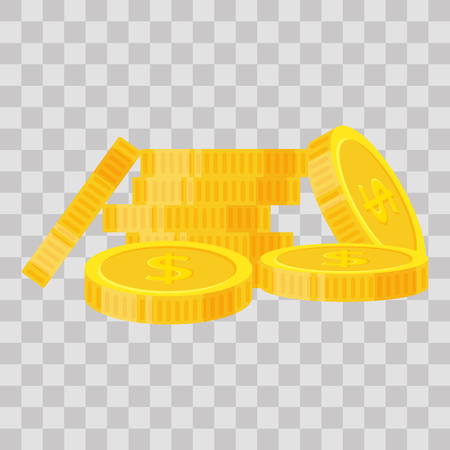Set coins stack vector illustration, icon flat finance heap, dollar coin pile. Golden money standing on stacked, gold piece on transparent background - flat style. Banco de Imagens - 101047119