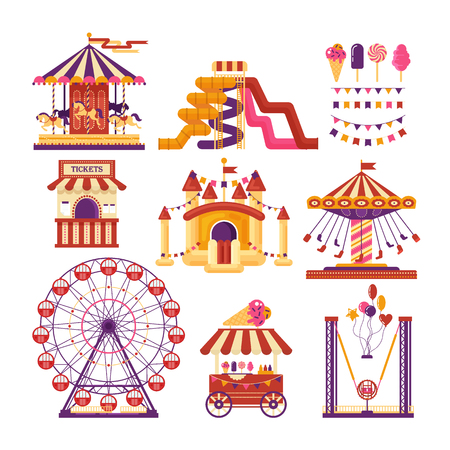 Amusement park flat elements with carousels, water slides, balloons, flags, inflatable trampoline castle, ferris wheel, mobile kiosk with sweets, catapult isolated on white background. Set family attractions for invitational cards, banners. Standard-Bild - 101274537