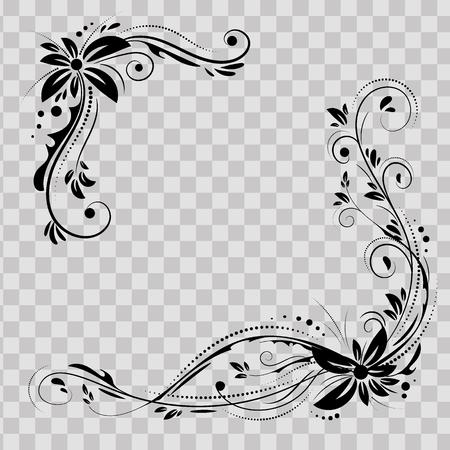 Conception d'angle floral. Ornement fleurs noires sur fond transparent - stock de vecteur. Bordure décorative avec éléments fleuris, motif. Carte de mariage avec tourbillon et cercles s'épanouissent. Vecteurs