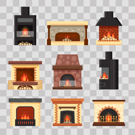 Vector set different colorful home fireplaces with fire and firewood on transparent background. Design elements for room interior in flat style - stock illustration