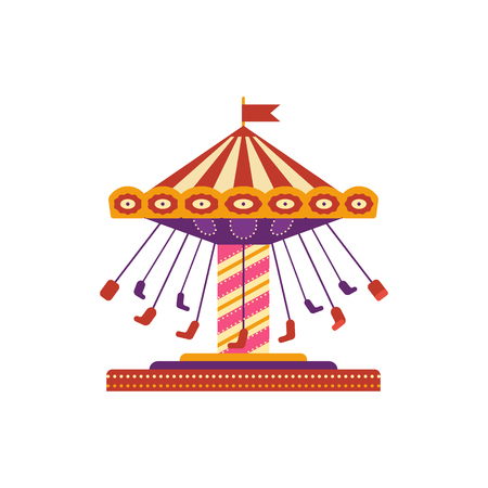 Colorful swing ride, amusement park element in flat style isolated on white background. Childrens entertainment, carousel with chairs, funfair carnival vector illustration Ilustração