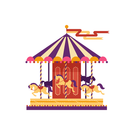 Colorful carousel with horses, amusement park element in flat style isolated on white background. Childrens entertainment, merry-go-round, funfair carnival vector illustration