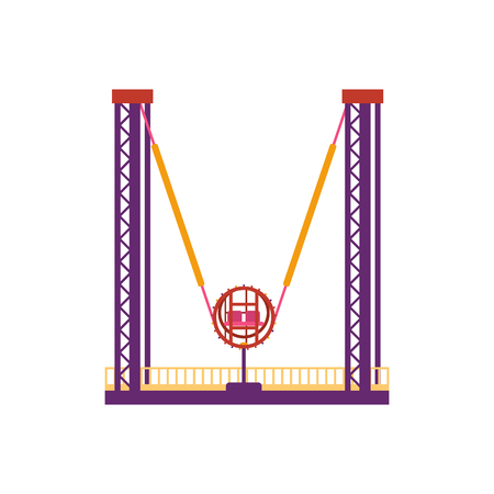 Colorful ejection seat, amusement park element in flat style isolated on white background. Reverse bungee entertainment, catapult with chairs in a fixed position, funfair carnival vector illustration