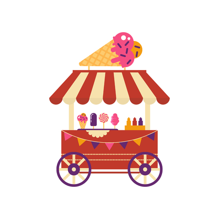 Ice cream cart on wheels with ice cream cone isolated on white background. Summer shop with frozen food sundae, cotton candy, different ice cream, market with sweets flat style