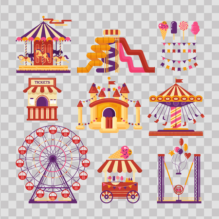 Amusement park flat elements with carousels, waterslides, balloons, flags, inflatable trampoline castle, ferris wheel, mobile kiosk with sweets, catapult on transparent background. Set family attractions for invitational cards, banners.