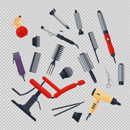 Set of hairdresser objects in flat style on transparent background. Hair salon equipment and tools logo icons, hairdryer, comb, scissors, chair, hairclipper, curling, hair straightener