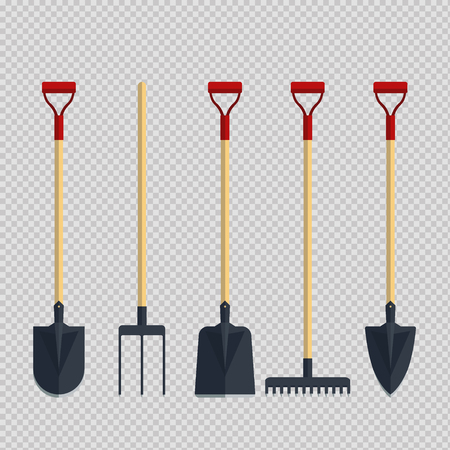 Set pitchfork shovel spade rake flat tool icon logo vector illustration. Farming equipment. Garden instruments on transparent background.