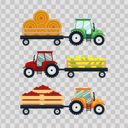 Set flat tractors with a cart corn, hay, tomato on transparent background. The agricultural machinery transports for farm with harvest - vector illustration