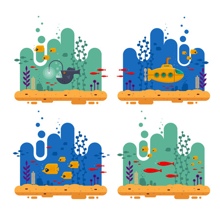 Yellow submarine with periscope underwater concept. Marine life with fish flock, angler fish, coral, seaweed, colorful blue ocean landscape. Bathyscaphe template for banner, poster or flyer cover - flat vector illustration