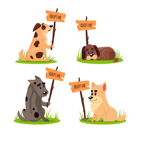 Set di cani senzatetto seduti con un poster Adottami. Non comprare - aiuta gli animali senzatetto a trovare una casa, un kit di cuccioli tristi, l'adozione di animali domestici - illustrazione vettoriale. Vettoriali