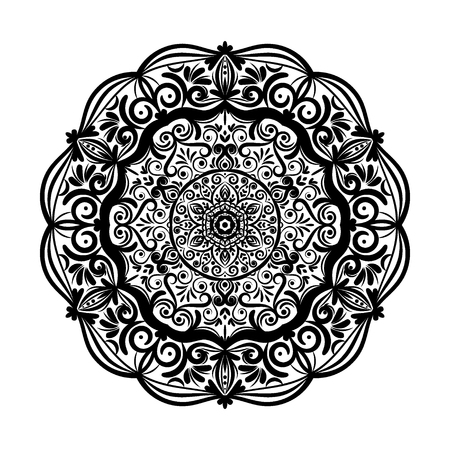 Monochrome mandala doodle element in boho style . Decorative round pattern, flower mandala, ethnic ornament, lace napkin vector illustration Illusztráció