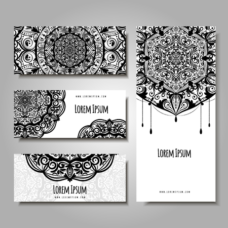 Set of business cards with ethnic ornament. Wedding invitatin or visiting card, banners, flyer with floral mandala vector illustration.