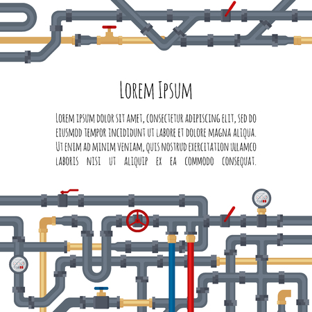 Background with tubes and pipelines on white background and place for your text. Flat elements of water tubing. Plumbing fo gas, oil industry. Vector illustration in flat style
