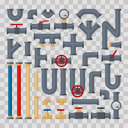 Set of tubes and pipelines pats on transparent background. Flat elements of water tubing. Plumbing fo gas, oil industry, different types water pipes sewage. Vector illustration in flat style