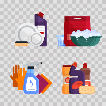 Cleaning service. Set house cleaning tools on trnsparent background. Detergent and disinfectant products for dishwashing, laundry, washing windows and toilet cleaning, baths, household equipment - flat vector illustration