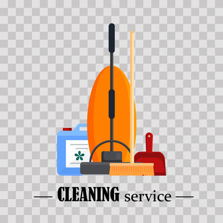 Cleaning service. Set house cleaning tools with vacuum cleaner, wooden broom, red scoop on transparent background. Household equipment for mopping - flat vector illustration Illustration
