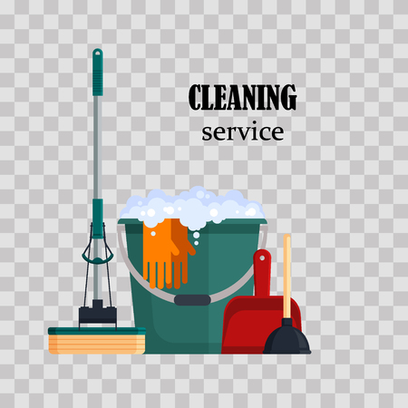 Cleaning service. Colorful set house cleaning tools with bucket, mop, glovers, scoop, toilet plunger on transparent background. Detergent and disinfectant products, household equipment - flat vector illustration