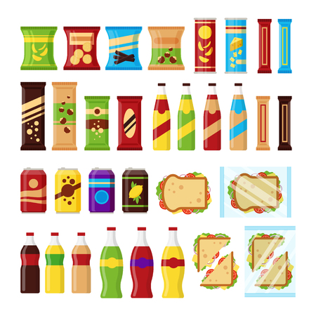 Snack product set for vending machine. Fast food snacks, drinks, nuts, chips, cracker, juice, sandwich for vendor machine bar isolated on white background. Flat illustration in vector. Vector Illustratie
