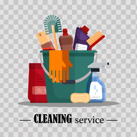 Cleaning service. Set house cleaning tools in bucket on transparent background. Detergent and disinfectant products, household equipment - flat vector illustration