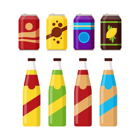 Set of colorful soft drinks in glass bottle and aluminum tins isolated on white background. Different cold drinks, carbonated water with flavors, soda cans for vending machine. Flat vector illustration. Vettoriali
