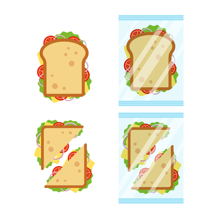 Set of sandwiches top view with tomato, onion, salad, cheese isolated on white background. Sandwich triangle and rectangle in transparent packaging, snack for breakfast and lunch, flat vector illustration Ilustracja
