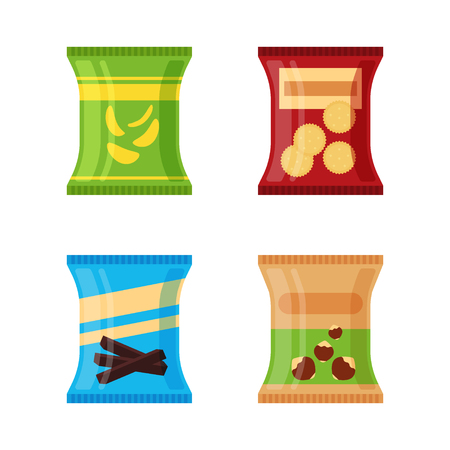 Set of different snacks - salty chips, cracker, chocolate sticks, nuts isolated on white background. Product for vending machine. Flat illustration in vector