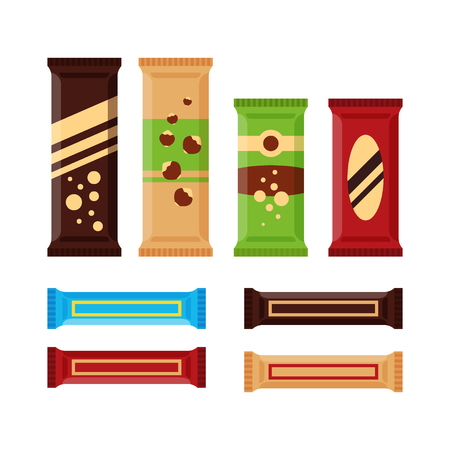 Set of colorful chocolate bars icons isolated on white background. Chocolate product, protein bar for vending machine in flat style Zdjęcie Seryjne