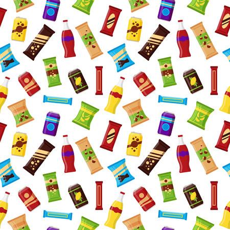 Naadloos patroonsnackproduct voor automaat. Fastfood snacks, drankjes, noten, chips, sap voor de machinebar van de leverancier op witte achtergrond. Vlakke afbeelding in vector.