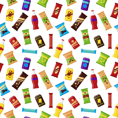 Seamless pattern snack product for vending machine. Fast food snacks, drinks, nuts, chips, juice for vendor machine bar on white background. Flat illustration in vector.