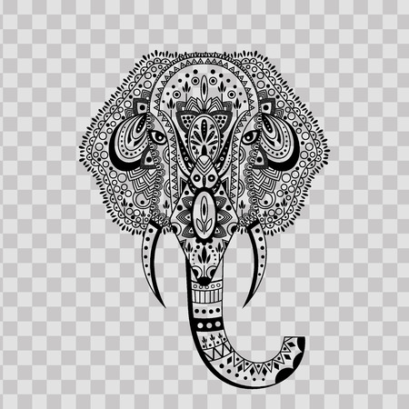 Elephant head zentangle stylized on transparent background. Hand drawn pattern with elephant logo. Used for design of a t-shirt, bag, postcard, a poster, banner