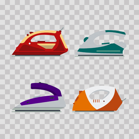 Set of colorful irons on transparent background - vector illustration. Flat icon logo electrical equipment, ironing electric appliance, home device, housework tool.