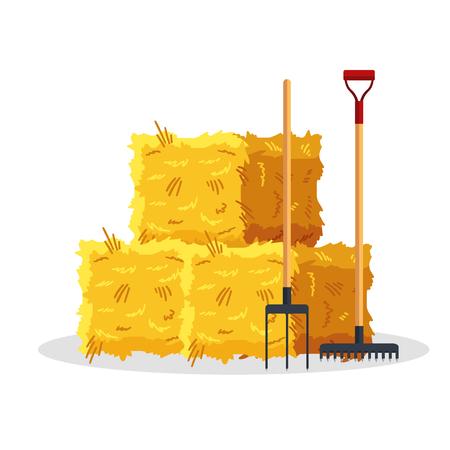 Balle de foin isolé sur fond blanc. Meule de foin séchée à plat avec fourches et râteau, grenier à balles de foin agricole, haycock rural agricole - illustration vectorielle.