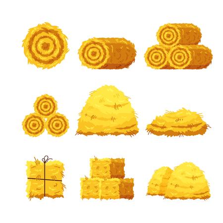 Définir différentes balles de foin isolé sur fond blanc. Botte de foin séchée à plat, foin de bale de foin agricole, foin rural agricole - illustration vectorielle. Vecteurs