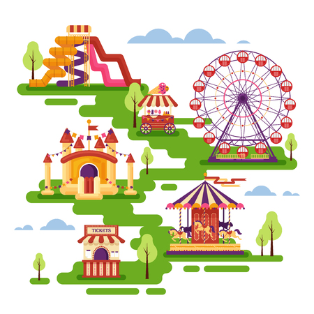 Amusement park flat elements with carousels, waterslides, balloons, inflatable trampoline castle, ferris wheel, mobile kiosk with sweets. Set family attractions for invitational cards, banners.