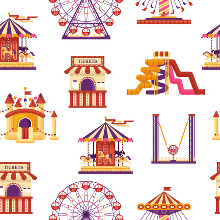 Seamless pattern amusement park with carousels, waterslides, balloons, inflatable trampoline castle, ferris wheel, mobile kiosk with sweets, catapult isolated on white background, family attractions. Standard-Bild - 115868459